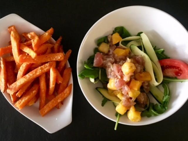 Le 31 Tartare de thon à la mangue fraîche et frites de patate douce